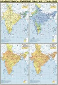 India Map Summer : Temperature, Rainfall, Pressure & Winds Paper Print