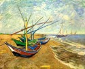 Fishing Boats On The Beach At Saintes-Maries Large By Van Gogh Fine Art Print - Large
