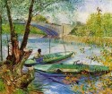 Fishing In Spring Small By Van Gogh Fine Art Print - Small