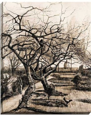 """Engrave Posters The Parsonage Garden at Nuenen in Winter by Van Gogh 30""""x24"""" Canvas Art"""