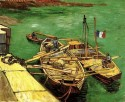 Quay With Men Unloading Sand Barges Medium By Van Gogh Canvas - Medium