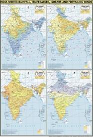 India Map Winter : Temperature, Rainfall, Pressure & Winds Paper Print