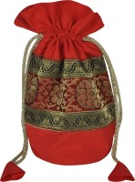Lal Haveli Brocade Work Floral Design Silk Jewellery Bag Coin Purse Red