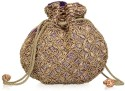 Oleva Matka Beads Sequins Pouch - Brown Blue