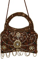 Galz4ever Dark Gold Drop Hand Bag Potli Brown