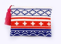 Diwaah Hand Crafted Beautiful Zip Top. Pouch Multicolor
