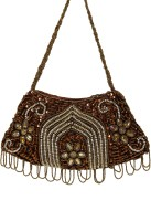 Galz4ever Dark Gold Drop Stylish Hand Bag Potli Brown