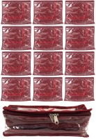 Annapurna Sales Maroon Satin Single Saree Cover And Transparent Churi Or Bangles Case - Set Of 13 Pouch Maroon