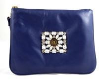 Claude Lorrain Leather With Diamond Brooch Pouch - Navy Blue