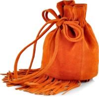 Paint Genuine Leather Small Fringes Potli Bag Potli Papaya Orange
