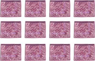Annapurna Sales Purple Satin Single Saree Cover - Set Of 12 Pcs Pouch Purple