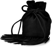 Paint Genuine Leather Small Fringes Potli Bag Potli Black
