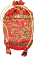 Giftpiper Brocade & Embroidered Lace Potli-Red 2 Potli Red