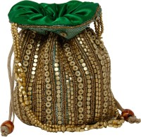 Galz4ever Fabric Satin Golden Hand Bag Potli Gold