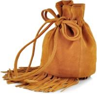 Paint Genuine Leather Small Fringes Potli Bag Potli Camel Yellow
