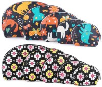 Uberlyfe Black Kitten Motif And Black Floral Print Multipurpose Pouch Or Purse - Combo Of 10 Multicolor