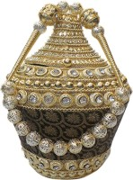 Bhamini Bhamini Conical Metal Batwa With Brocade Base (Black) Potli Black - 01
