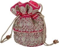 Sanjog Ethnic Lady Love Pink Silky Clutches For Women/Girls Potli Pink