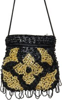 Galz4ever Fabric Satin Black Hand Bag Potli Black