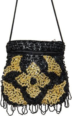 Galz4ever Fabric Satin Black Hand Bag Potli Black