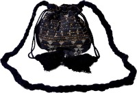 Diwaah Black Beaded Draw String Bag Potli Black