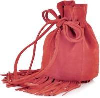 Paint Genuine Leather Small Fringes Potli Bag Potli Papaya Red