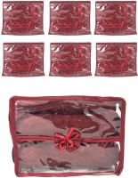 Annapurna Sales Maroon Satin Single Saree Cover And Transparent Churi Or Bangles Case - Set Of 7 Pouch Maroon
