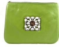 Claude Lorrain Leather With Diamond Brooch Pouch - Green