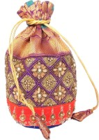 Giftpiper Brocade & Embroidered Lace Potli- Purple Potli Purple