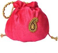 Mahadev Exports Rani Pink Velvet With Kairi Booti Potli Multicolor