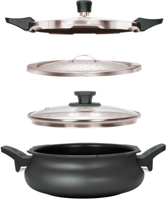 Pigeon All in One Super Cooker Outer Lid - Black 3 L Pressure Cooker (Induction Bottom, Aluminium)