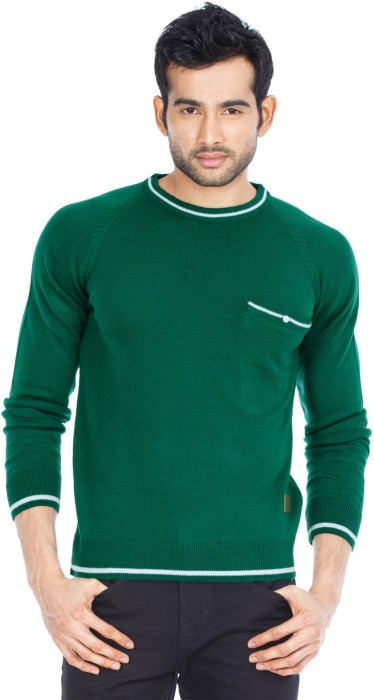 Zovi Green And White Full-sleeves Solid Round Neck Casual Men's Sweater