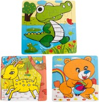The Souq Animal Block Board Puzzle Set Gift For Kids (Set Of 3): Alligator Deer Fox (60 Pieces)