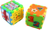 Pigloo Set Of 2 Multi-Puzzle Cube Toy Block (12 Pieces)