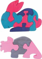 Enigmatic Woodworks Puzzles Enigmatic Woodworks Wooden Jigsaw Puzzle Rabbit + Rhinoceros