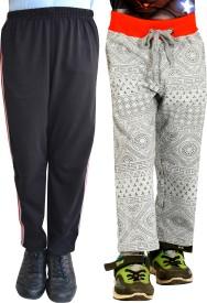 Shaun Printed Girl's Grey, Black Track Pants