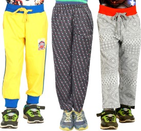 Shaun Printed Girl's Yellow, Grey, Black Track Pants