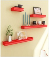 Onlineshoppee Beautiful Wooden Red Rectangular Wooden Wall Shelf Wooden Wall Shelf (Number Of Shelves - 4, Red)