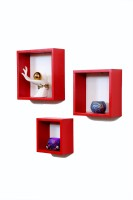Importwala Red Cube Wall Shelves-Set Of 3 MDF Wall Shelf (Number Of Shelves - 3, Red)