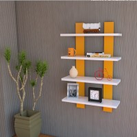 Decor India Craft Ladder Shape Wall Shelf Yellow & White MDF Wall Shelf (Number Of Shelves - 4, Yellow, White)
