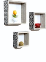 Importwala Handpainted District Brown Finish Wall Shelves- Set Of 3 MDF Wall Shelf (Number Of Shelves - 3, Brown)