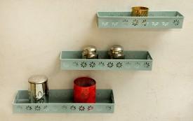 Logam Metal Sky blue ( Set of Three) Iron Wall Shelf
