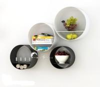 Home Sparkle Set Of 4 Round Shelves Steel Wall Shelf (Number Of Shelves - 4, Multicolor)