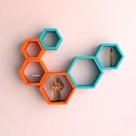GANESHAAS GHWSXD003SBO Hexagon Marin Blue n Orange Floating MDF Wall Shelf