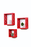 Importwala Trendy Red Wall Shelves- Set Of 3 MDF Wall Shelf (Number Of Shelves - 3, Red)