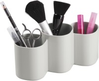 Interdesign Clarity Cosmetic Organizer Cup For Makeup Brushes, Beauty Products - Light Gray Plastic Wall Shelf (Number Of Shelves - 3)
