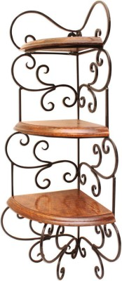 Home Sparkle Corner Rack Wooden, Iron Wall Shelf