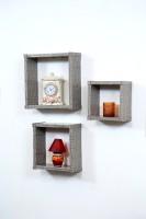 Importwala Slate Leatherite (PU) Wall Sheves - Set Of 3 MDF Wall Shelf (Number Of Shelves - 3, Grey)