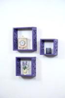 Importwala Purple Dots Wall Shelves- Set Of 3 MDF Wall Shelf (Number Of Shelves - 3, Purple)