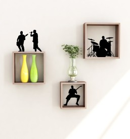 Home Sparkle Square Wooden Wall Shelf